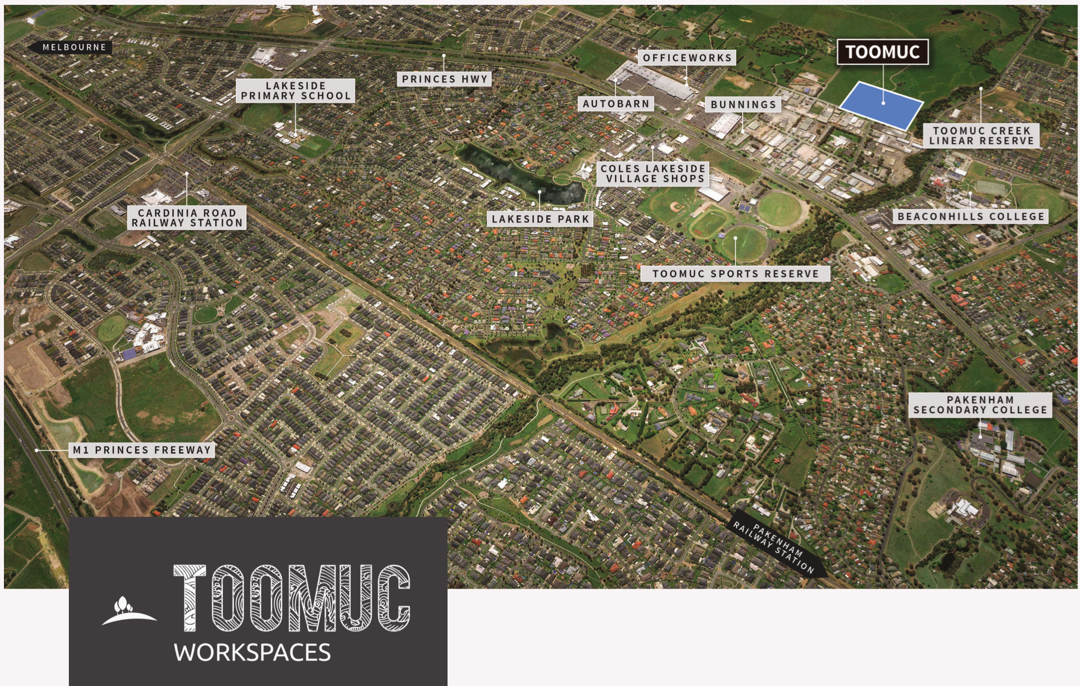 Toomuc Workspaces, Industrial Land and Warehouse for Sale Locality Map